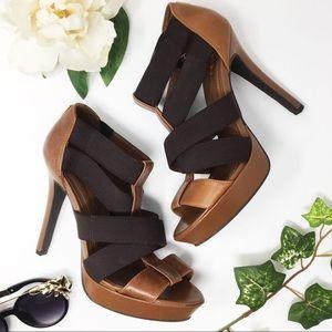 BCBGENERATION brown & tan strappy platform heels